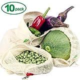 Winload Bolsas de Vegetales Reutilizables, 10 Piezas Olsas de Frutas y Vegetales...