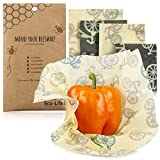 Beeswax Food Wrap - Organic Beeswax Wrap, Biodegradable and Eco Friendly Alternative to Plastic Wrap. Natural and Sustainable Reusable Food Wrap. 4 Piece Variety Pack.