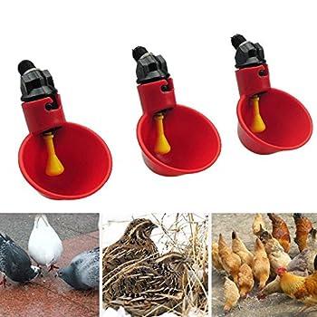 PanDaDa Abreuvoir à Poule Automatique Tasses d'eau Potable Rouge Abreuvoir Poules Bien Pratique en Plastique pour Oiseaux Poule Volaille - 5PCS