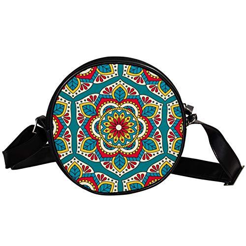 Bandolera redonda pequeña bolso de mano para mujer, bolso de hombro de moda, bolso de mensajero de lona, bolsa de cintura, accesorios para mujer, mandala india azul psicodélico