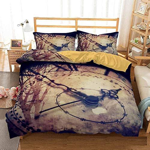 Bedclothes-Blanket Funda nórdica Funda de Colcha,Cama 3D Single Ropa de Cama Edredón Set Reloj de Tres piezas-140 * 210_18
