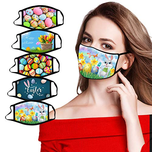 5PC Face_Mask,Easter Eggs Rabbit Holiday Breathable Reusable Washable Mouth Protection for Women Men