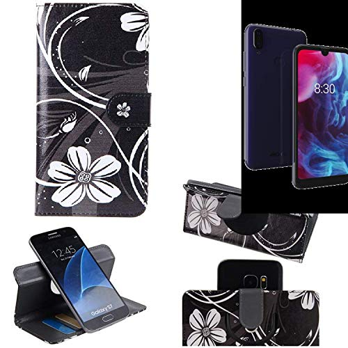 K-S-Trade Schutzhülle Für Archos Oxygen 57 Hülle 360° Wallet Hülle Schutz Hülle ''Flowers'' Smartphone Flip Cover Flipstyle Tasche Handyhülle Schwarz-weiß 1x