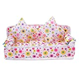 Bonlting Lovely Mini Furniture Flower Print Sofa Couch with 2 Cushions for Barbie Doll House Accessories