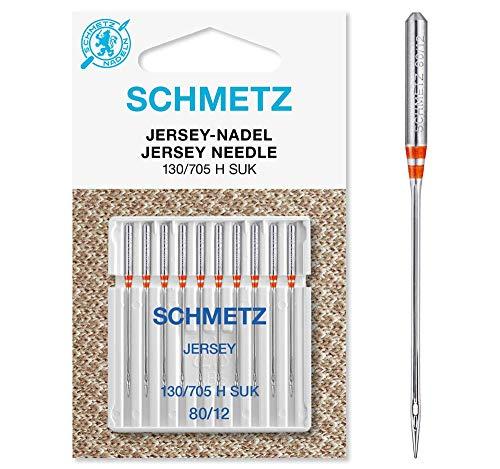 SCHMETZ Nähmaschinennadeln: 10 Jersey-Nadeln, Nadeldicke 80/12, 130/705 H-SUK, auf jeder gängigen Haushaltsnähmaschine einsetzbar, geeignet für das Verarbeiten von Jersey, Strick- und Wirkwaren