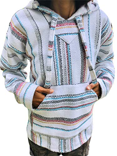 Baja Hoodie White Fiesta Mexican Drug Rug Pullover Poncho Sweatshirt (X-Large)