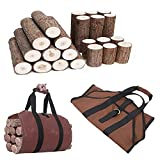 Hourongw Bolsa de lona para leña de 99 x 45 cm, gran capacidad para interior y chimenea, bolsa de almacenamiento de leña, para exteriores, con asas de madera resistente
