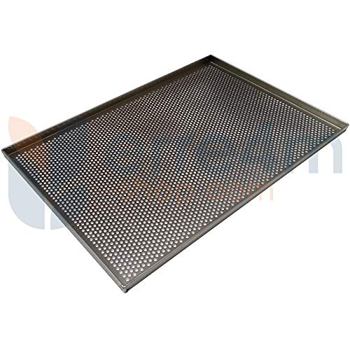 Erre4m - Bandeja de horno con agujeros de 5 mm, 60 x 40 x 2 cm cm. De aluminio profesional.