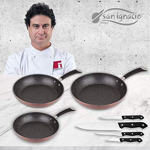 San Ignacio Premium Moma Set 3 sartenes + 4, Aluminio Forjado, Multicolor, 3 Piezas + Cuchillos