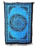 Sarong Pareo Keltisches Blumen Mandala hellblau - blau/große Auswahl schönste Farben/Wickelrock Strandtuch Sauna-Tuch Wickelkleid Schal Wickeltuch Bademode Freizeitmode Sommermode/aus 100% Viskose