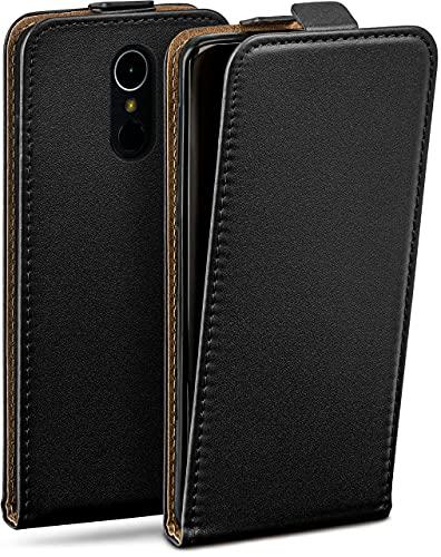 moex Flip Hülle für LG K10 (2017) Hülle klappbar, 360 Grad R&um Komplett-Schutz, Klapphülle aus Vegan Leder, Handytasche mit vertikaler Klappe, magnetisch - Schwarz