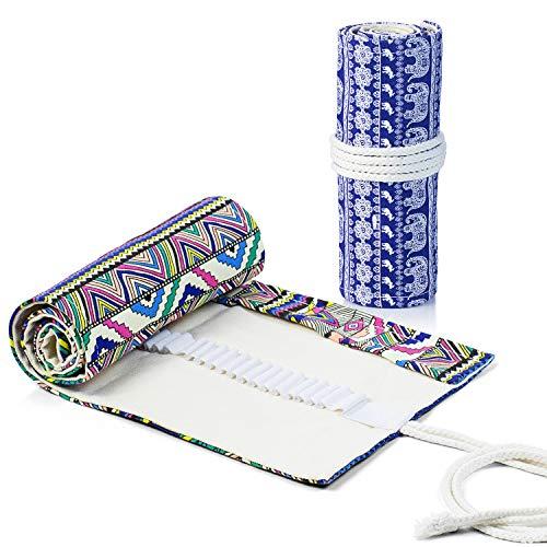 Comius Sharp 2 Piezas Lona Bolso para Lápices con 72 Agujeros, Estuche Enrollable para Lápices Portalápices de Lona Organizador para Envolver Lápices Lápiz, Escuela, Oficina (Estilo 1)