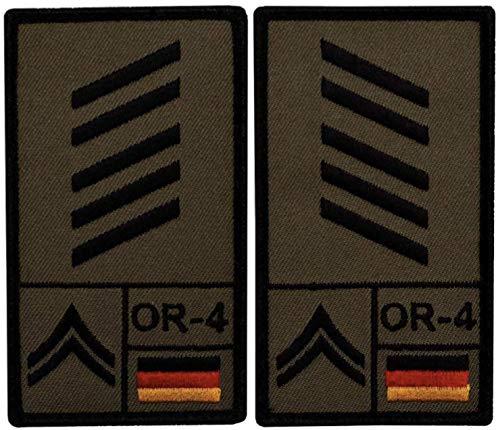 Café Viereck ® Oberstabsgefreiter Bundeswehr Rank Patch mit Dienstgrad - Gestickt mit Klett - 9,8 cm x 5,6 cm - 2 Stück