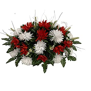 Red, Pink, White Roses Cemetery Flower Arrangement, Headstone Saddle, Grave, Tombstone Arrangement, Cemetery Flowers SV4195