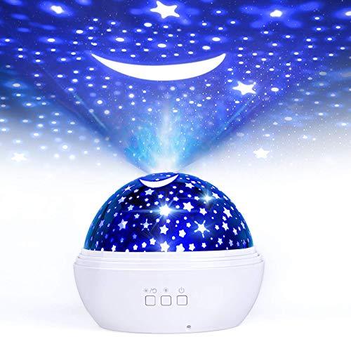 Projecteur Ciel Etoile Enfant, FISHOAKY Veilleuse Projecteur Bebe, 360°Rotation Lampe Etoile Projecteur, 8 Couleurs, 3 Films Thème, Bébé Chevet Night Light Pour Cadeau, Anniversaire
