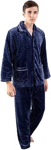 Ensembles de pyjama Pyjama épais service à domicile pour hommes peut porter des costumes de service à domicile à hommeches longues pyjama chaud pour hommes ( Couleur   bleu , Taille   XL(175cm) )