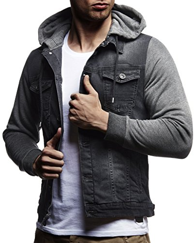 Mens Slim Fit Vintage Anthracite Denim Jacket with Hood