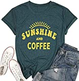Sunshine Tshirts Funny Summer Graphic Tee Shirts for Women Letter Print Tees Shirts Funny Coffee Tee Shirts Tops