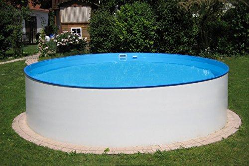 POWERHAUS24 MTH Schwimmbecken, rund, 3,50m x 1,20m 0,6mm Stahlwand, Folie mit Keilbiese