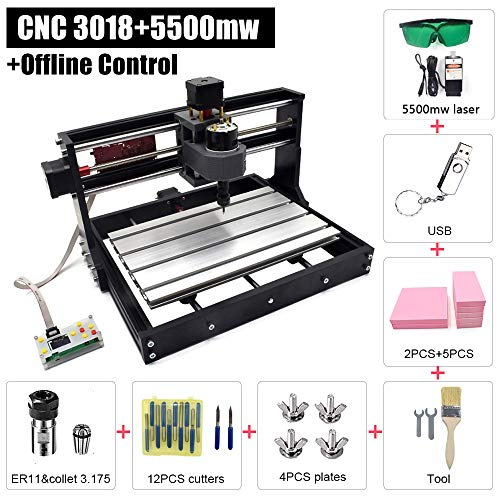 Upgraded CNC 3018 PRO 5500mw Laser Engraver 2 in 1 CNC Cutting and Engraving Machine with Offline Control,GRBL Control Class 4 Desktop 3 Axis CNC Router Kit for Wood, Acrylic & PVC