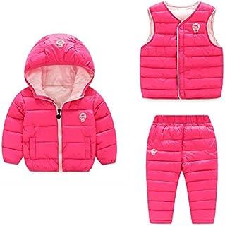 Baby Boy Girl Winter Puffer Snowsuit Down Hooded Jacket+Vest+Ski Pants Set