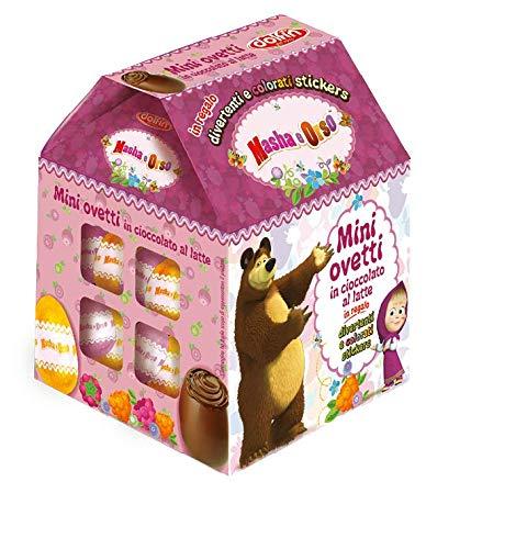 Casetta pasquale MASHA E ORSO con mini ovetti di cioccolata al latte con SORPRESA 100 gr