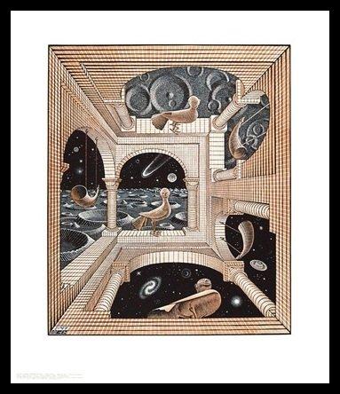 Germanposters MC Escher Poster Kunstdruck Bild Andere Welt im Alu Rahmen in schwarz 71x61cm