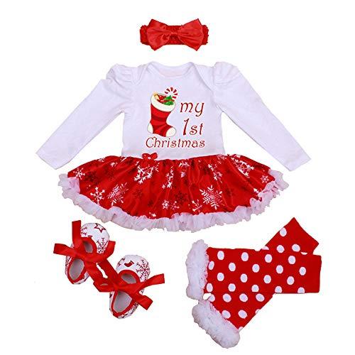 Winmany Mameluco de Navidad para niñas recién Nacidas, Vestido con tutú, Diadema, Calentador de piernas, Conjunto de Zapatos, Mono para bebé (Zapatos de Navidad, 3-6 Meses)