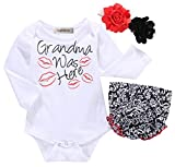 Styles I Love Baby Girls Grandma was Here Cotton Romper with Shorts and Headband 3pcs Summer Outfit (Long Sleeve, 70/0-3 Months)