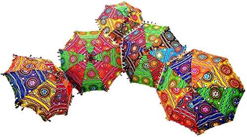 GANESHAM indische dekorative handgefertigte Mode Mehrfarbig Designer Baumwolle Strand Regenschirm UV-Schutz Sonnenschirm Stickerei Boho-Sonnenschirm Indische Hochzeit Schirme Sonnenschirm (15 Stück)