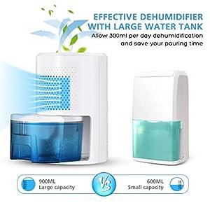 Homemaxs Dehumidifier 900ml, 【2020 Newest】 Small Dehumidifier Safe Dehumidifier with Full Auto Shut Off Ultra Quiet Dehumidifiers for Home Basements Bedroom Bathroom Wardrobe RV