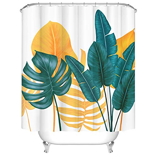 Tropical Leaves Shower Curtain Green and Yellow Palm Leaves Waterproof Fabric Shower Curtains for Home Bathroom Decor with Hooks 72x72 Inches