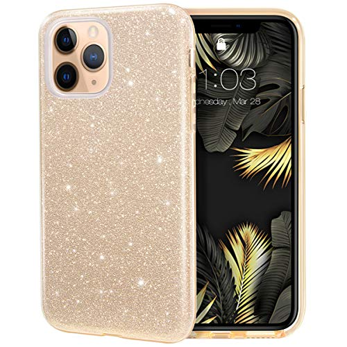 MILPROX iPhone 11 Pro Case, Bling Sparkly Glitter Luxury Shiny Spark Shell, Protective 3 Layer Hybrid Anti-Slick Slim Soft Cover for iPhone 11 Pro 5.8 inch (2019) -Gold