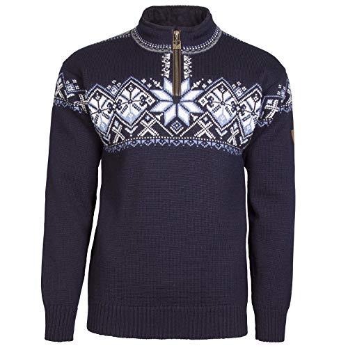Dale of Norway Geiranger Unisex Men's/Women's 100% Norwegian Wool Pullover Sweater, Medium, Navy-Smoke-Off White-Blue Shad