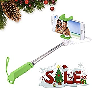 Podie Kids Wired Selfie Stick. New Model. The Coolest and Easiest Selfie Stick. No Need for Bluetooth Connection or Charging. Fits iPhone, Android, Samsung, LG. Extra Bonus. (Green)