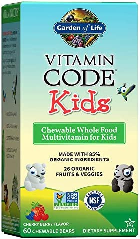 Garden of Life Vegetarian Multivitamin Supplement for Kids, Vitamin Code Kids Chewable Raw Whole Food Vitamin with Probiotics, 60 Chewable Bears