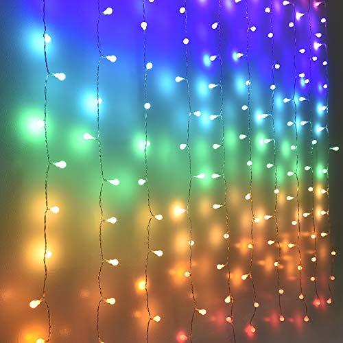 Guirnaldas Cortina de Luces Exterior Interior Led Decoracion Guirnalda Luces Decorativas Habitacion iluminacion colores Jardin Pared mirador Balcón Boda Cumpleaños Navidad para niña (globo)