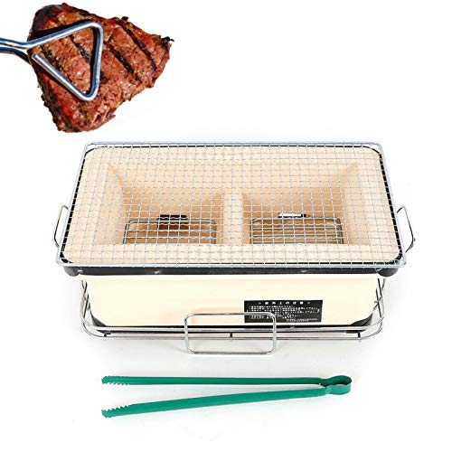 Barbecue Charcoal Grill, TBVECHI 40cm Large Ceramic Japanese Table Grill BBQ Portable Yakitori Barbecue Charcoal Grill Tailgate