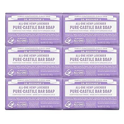 Dr. Bronner's Pure-Castile Bar Soap – Lavender, 5oz. (Pack of 6) by Dr. Bronner's