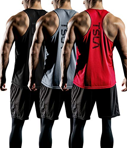 TSLA Men's Dry Fit Y-Back Muscle Workout Tank Tops, Athletic Training Gym Tank Top, Sleeveless...