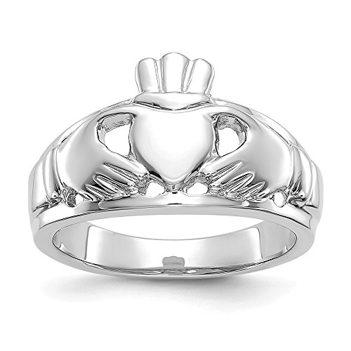 14k White Gold Ladies Irish Claddagh Celtic Knot Band Ring Size 6.50 Fine Jewellery For Women Gifts For Her