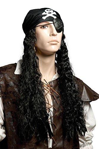 Perruque Pirate avec cheveux longs et foulard
