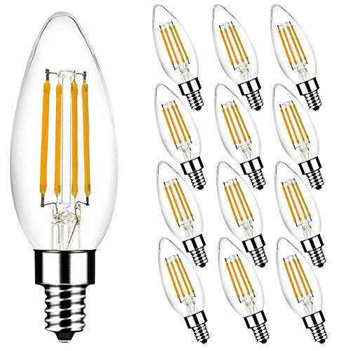 TW Lighting 12-Pack Dimmable B11 LED Chandelier Light Bulbs 40W Equivalent, 3.5W LED Filament Candle Bulbs, 350 Lumens, E12 Base, 2700K Warm White, UL Listed & Energy Star Qualified (12 (12 Pack x 1))