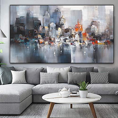 MFGGF Bilder City Building Regen Boot Bilder Abstrakte Kunst Leinwand-Malerei Moderne Dekoration-Ölgemälde-Wand-Bild for Zimmer (Color : W1002, Size (Inch) : 70x140cm)