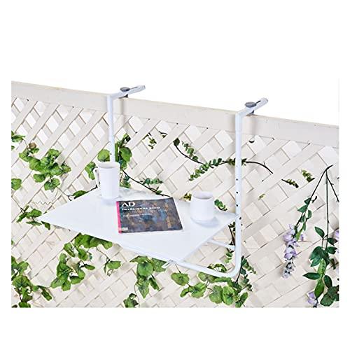 AWSAD Escritorio de Computadora Flotante Mesa Colgante de Barandilla de Balcón Mesa Elevadora Plegable Pequeño Bar Casero por Balcón Jardín Valla, Ajustable (Color : White, Size : 60X40cm)