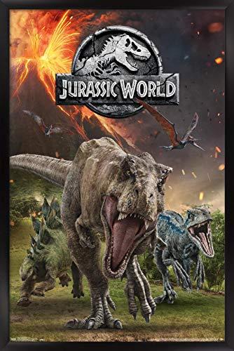 Trends International Jurassic World: Fallen Kingdom - Group Wall Poster, 14.725' x 22.375', Black Framed Version