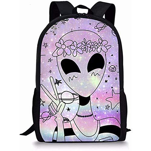 Beating Heart Xinind Enfants Sac À Dos Imprimé Alien Cool School Book Bag pour étudiant Polyester Sac pour Garçons Filles