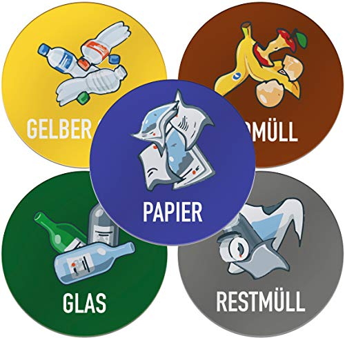 Kulinu 64541 Aufkleber Mülltrennnung Müll Sticker 5er Set (Farbig Rund, 5 Stück)