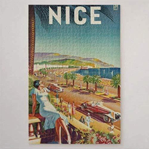 Adultos Puzzle 1000 Piezas De Madera Niño Rompecabezas-Cartel De Viaje Vintage De Niza Francia-Decoración Para El Hogar Diy Regalo Moderno Festival Juego Intelectual 75X50Cm