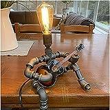 ZLSP Lámpara de mesa estilo Steampunk, lámparas de robots de agua industrial de hierro industrial, estilo retro Steampunk Light Cool Guitarling, para oficina, dormitorio, sala de estar, bar restaurant